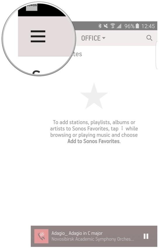 Sonos app menu button.
