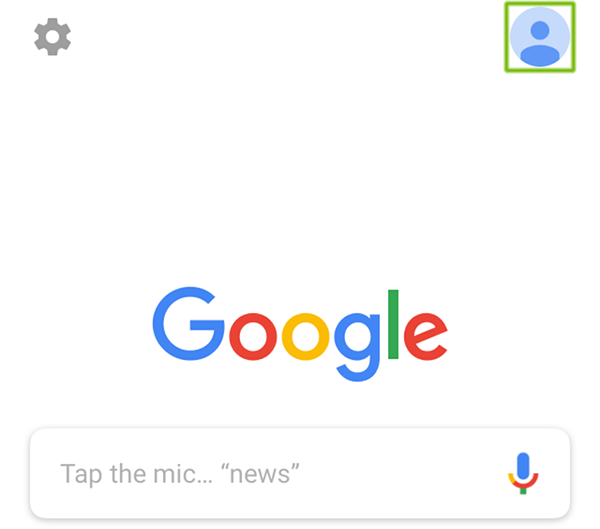 Google App with person silhouette highlighted.