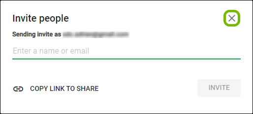 Close button highlighted on invitation prompt in Google Hangouts.