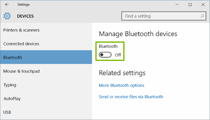 Devices settings with Bluetooth selected on left column and Bluetooth toggle highlighted