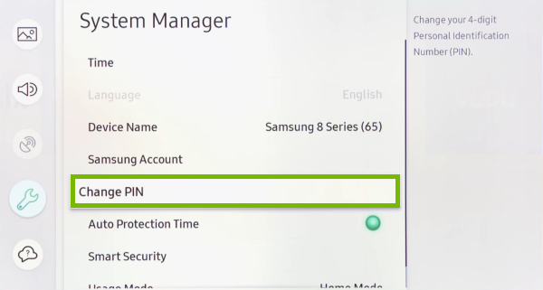 Change PIN option highlighted in settings menu of Samsung Smart TV.