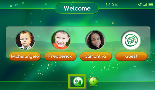 Screenshot of the LeapPad Ultimate's home screen highlighting the parent and child icon at the bottom of the screen.