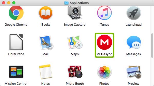 MegaSync highlighted in Applications folder.