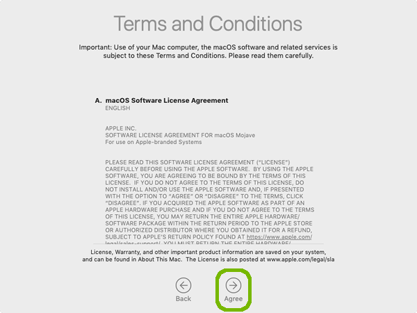 Terms and conditions with Agree highlighted.
