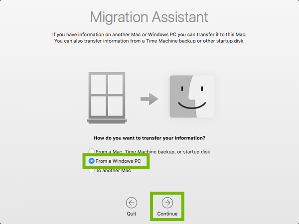 Migration Assistant welcome screen with From a Windows PC and Continue highlighted.