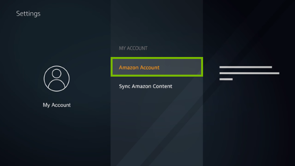 Amazon Account option highlighted on Fire TV account settings screen.