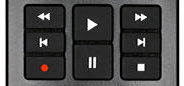 Playback controls section of remote.