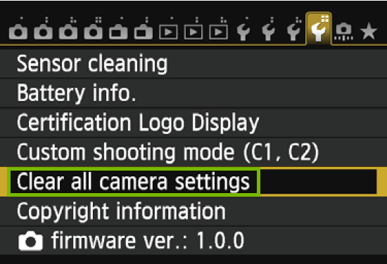 menu with clear all camera settings highlighted