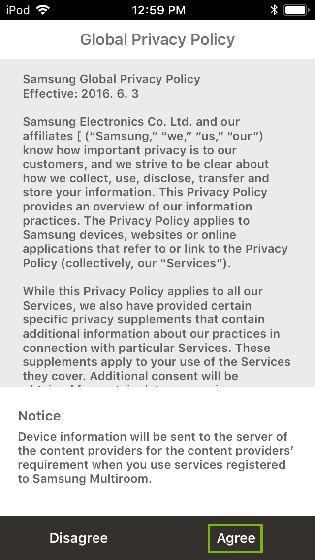 privacy policy with Agree highlighted