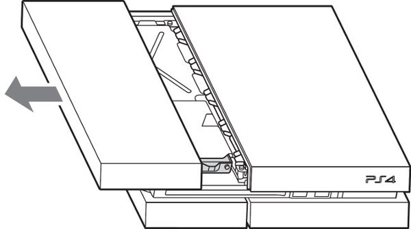 Diagram showing removal of top panel.
