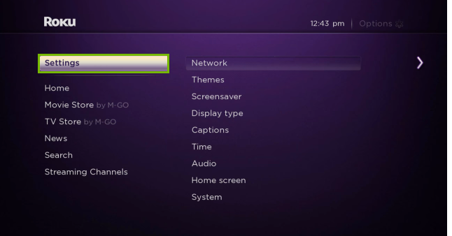 Roku TV menu with Settings option highlighted.