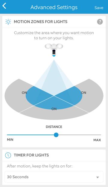 More light settings in mobile app