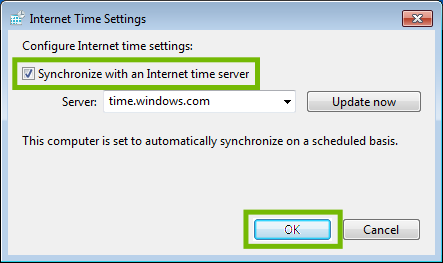 Internet time settings with Synchronize and OK button highlighted.
