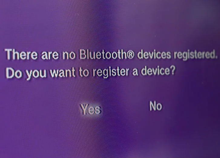 There are no Bluetooth devices registered. Do you want to register a device?