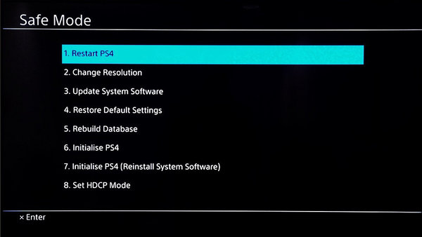 PS4 Safe Mode.