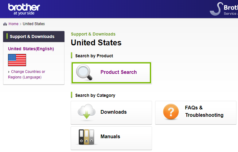 Brother website highlighting the product search link. Screenshot.