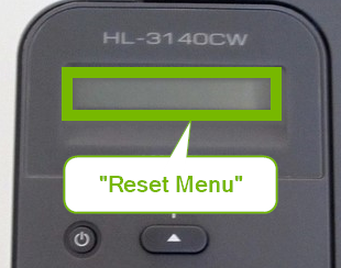 Printer control panel screen displaying Factory Reset.
