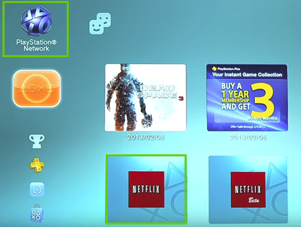 Playstation network showing Netflix as available