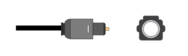 Optical audio plug and socket.