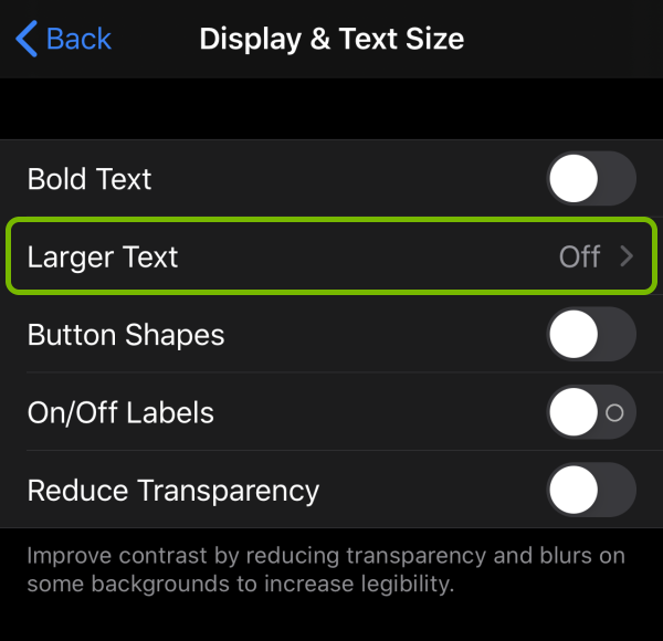 Larger Text option highlighted in Accessibility settings on iOS.