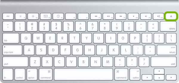 Eject button highlighted on Mac keyboard.