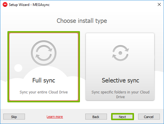 Install type with Full sync and Next buttons highlighted.