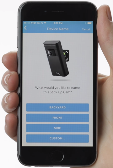 Ring app prompting the user to choose a name for the new device.