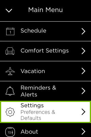 Settings option highlighted in thermostat Main Menu.