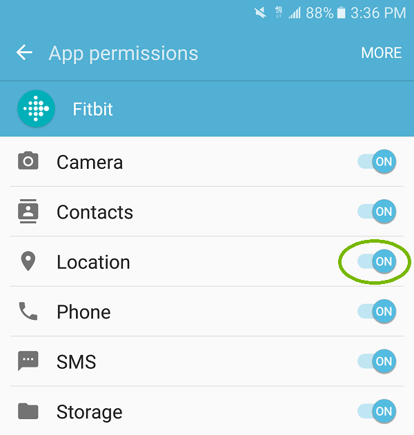 App permissions with Location highlighted. Screenshot