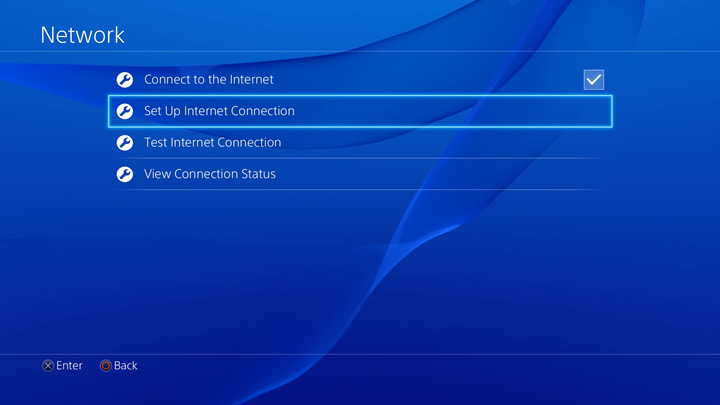 setup internet connection highlighted on Network menu