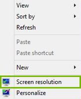 Screen Resolution highlighted
