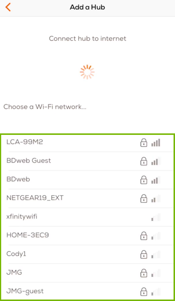 Choose a network with list of wireless networks highlighted