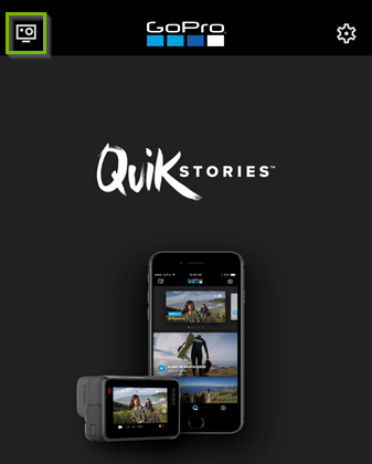 Screenshot of the GoPro app highlighting the camera icon in the upper-left corner.