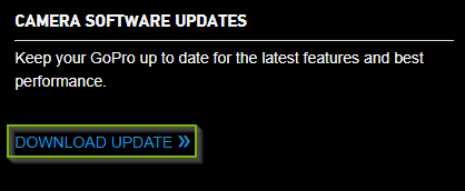 GoPro website with the download update link highlighted.