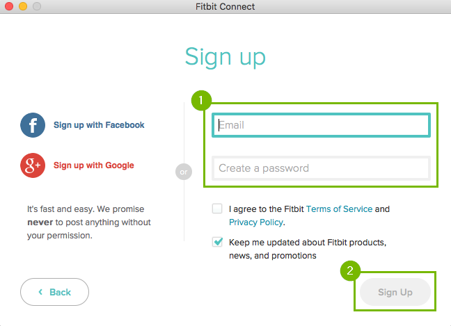 Fitbit Sign up page with e-mail and password highlighted and then sign up is highlighted