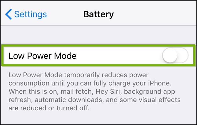 iOS Battery settings menu highlighting low power mode.