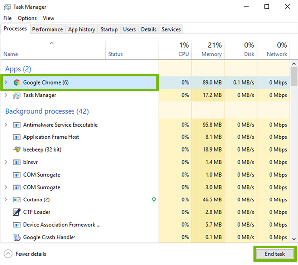 Task Manager with Google Chrome and End task highlighted.