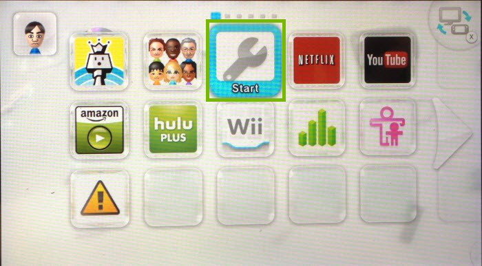 WiiU menu with system settings highlighted