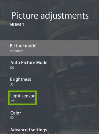 Picture adjustments menu with Light sensor highlighted.