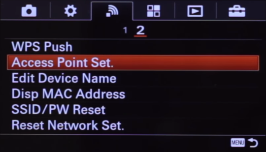 Camera wireless settings screen