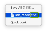 Attachment file extension highlighted