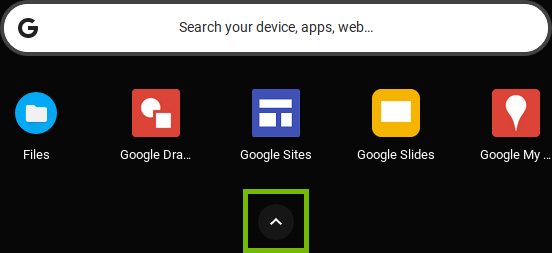 App Drawer with All Apps arrow highlighted.