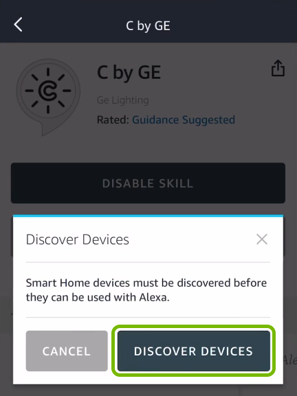 Discover Devices option highlighted in Alexa app.