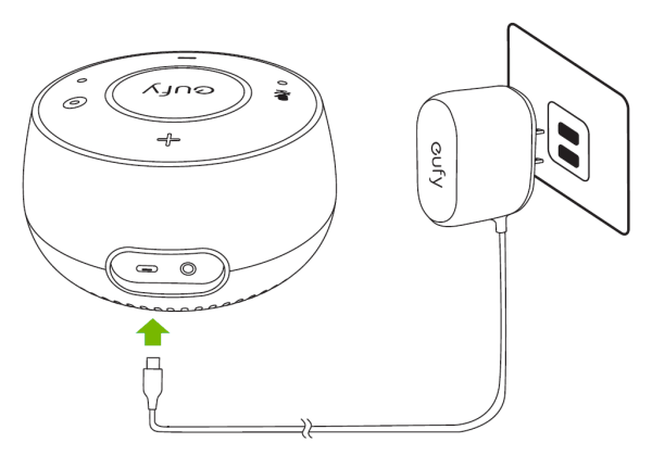 Eufy Genie being plugged into electrical outlet.
