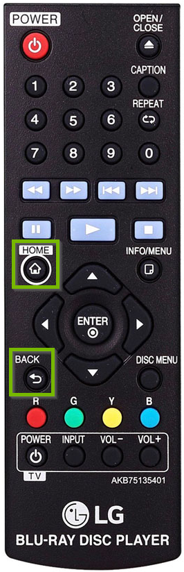 LG remote control with home and back buttons highlighted.