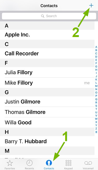 Contacts and Add pointed out in iOS Phone app.