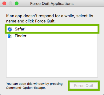 Force Quit window with app and Force Quit button highlighted.