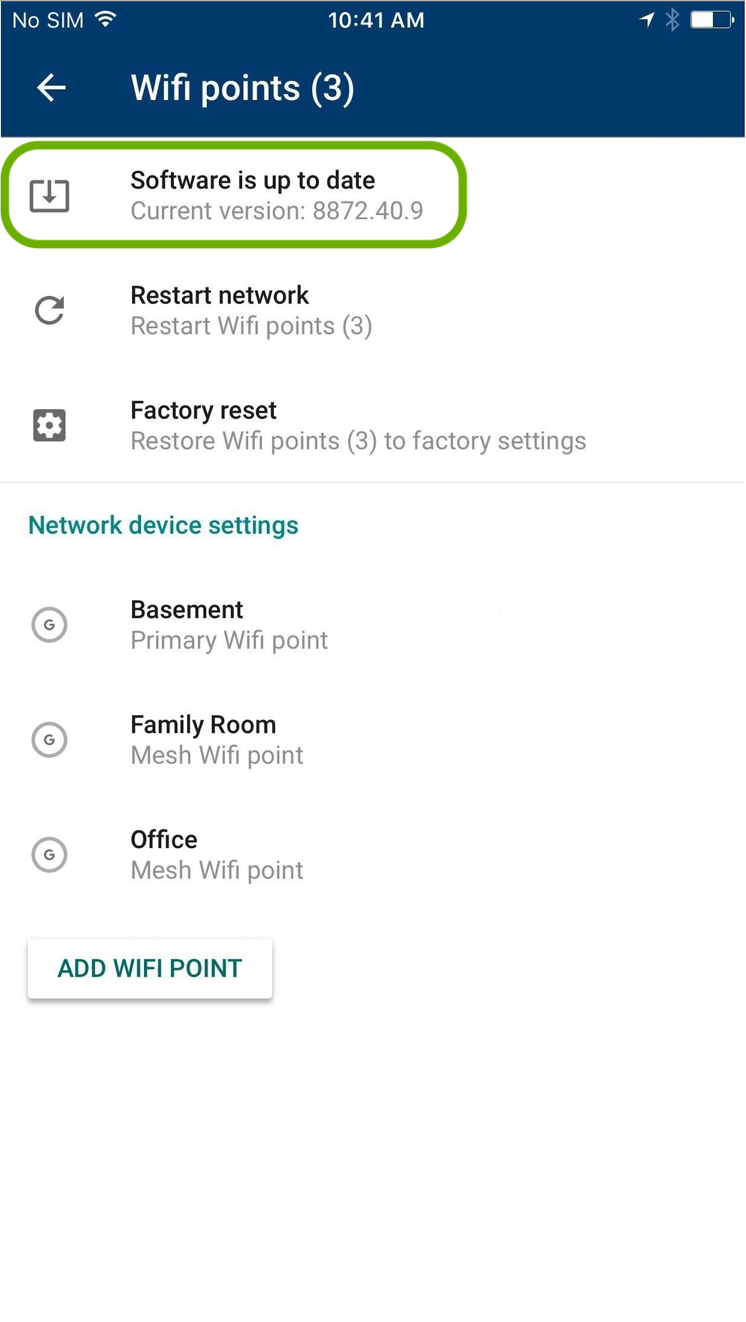 google wifi app version shown