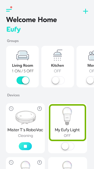 Bulb tile highlighted in EufyHome app.