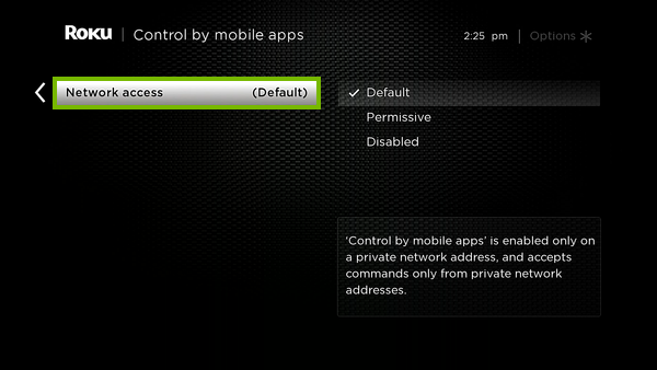 Network access option highlighted in Roku settings.